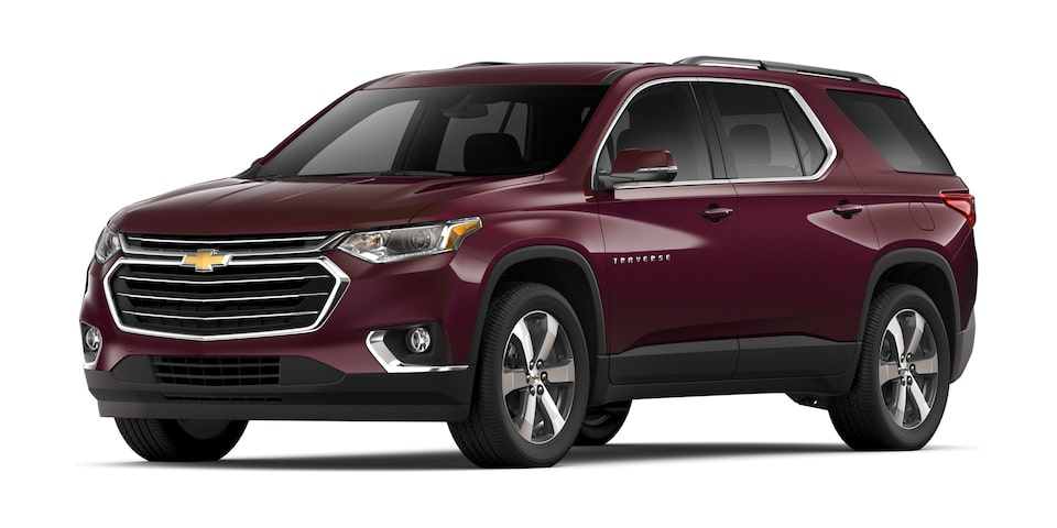 Chevrolet Traverse 2020, camioneta familiar en color rojo granada